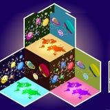 Planeamento home isométrico jogo da criação do vetor 3D Imagens de Stock