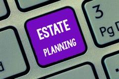 Planeamento imobiliário da escrita do texto da escrita Conceito que significa a gestão e a eliminação daquela person& x27; propri fotografia de stock