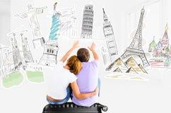 Planeamento romântico da viagem foto de stock