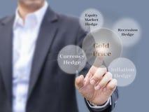 Planeamiento de la inversión del oro con los factores que influencian los movimientos del precio del oro imagenes de archivo