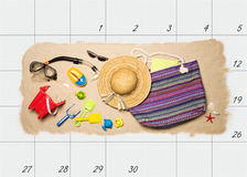 Planeamiento de las vacaciones de verano Fotografía de archivo
