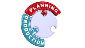 Planeamiento, producción, distribución La marca de verificación bajo la forma de rompecabezas libre illustration