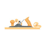 Planed board a plan. Planed wood board a plane. Repair tool. Joinery or carpentry instruments. Woodworking process vector illustration. Handmade with jackplane Royalty Free Stock Image