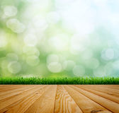 Planed floor and grass Royalty Free Stock Images