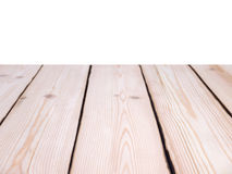 Planed pine planks perspective background isolated on white Stock Photography