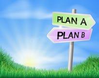 Planee A o planee la muestra de la decisión de B Foto de archivo libre de regalías
