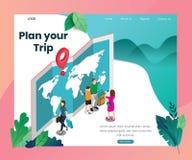 Planee su viaje al concepto en el extranjero isométrico de las ilustraciones libre illustration