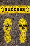 Planee un plan B al mensaje de éxito Imagen conceptual Fotografía de archivo
