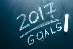 Planee una lista de metas para 2017 en la pizarra Fotografía de archivo