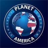 Planeet Amerika - wereld met continenten Royalty-vrije Stock Foto