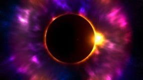 Planeet in de donkere nachthemel met een zonnegloed Heldere rode, roze en purpere kleuren vector illustratie