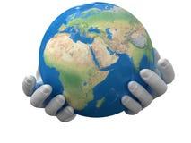 Planeet in de handen Stock Fotografie