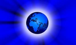 Planeet in de nacht Technologiemededeling stock illustratie