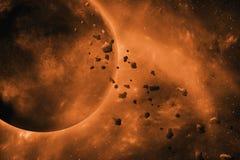 Planeet die door stervormige riem in ruimte overgaan stock foto's