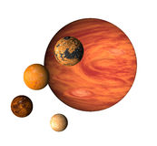 Planeet Jupiter en manen royalty-vrije illustratie