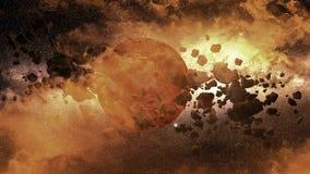 Planeet - maan - stervormig gebied royalty-vrije illustratie