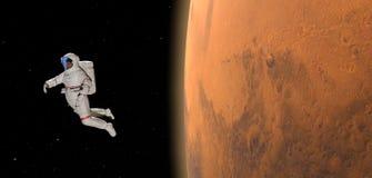Planeet Mars en astronaut drijven vrij in ruimte vector illustratie