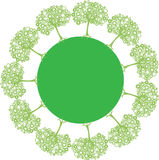 Planeet met groene bomen Stock Foto