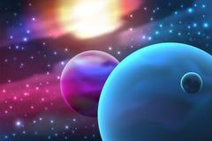Planeet met maan vector illustratie