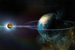 Planeet met ringen Stock Afbeeldingen