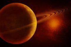Planeet met ringen en sterren Royalty-vrije Stock Afbeeldingen