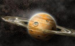 Planeet met ringensysteem Stock Afbeelding