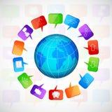 Planeet met sociale toespraakbellen Royalty-vrije Stock Foto