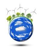 Planeet met windturbines Stock Afbeelding