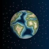 Planeet met wolken, 3d document besnoeiingsontwerp vector illustratie