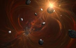 Planeet in rode nevel en geboorte van nieuwe planeet Royalty-vrije Stock Foto