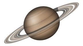 Planeet Saturn, op wit wordt geïsoleerd dat Royalty-vrije Stock Foto