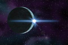 Planeet van de ruimte bij nacht Stock Afbeeldingen