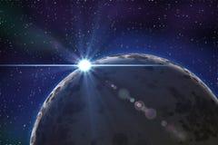 Planeet van de ruimte bij nacht Stock Afbeelding