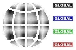 Planeetbol in Dot Style met Grunge-Titelzegels stock illustratie