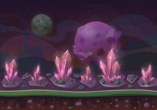 Planeetlandschap of het terrein van het beeldverhaallandschap met kristallen of korrels en sterren of planeten in hemel royalty-vrije illustratie