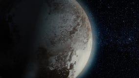 Planeetpluto De mooie 3d animatie van de Plutoplaneet roteert met alpha- kanaal De animatie van de planeetpluto stock illustratie