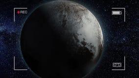 Planeetpluto De mooie 3d animatie van de Plutoplaneet roteert met alpha- kanaal De animatie van de planeetpluto vector illustratie