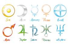 Planeetsymbolen stock illustratie