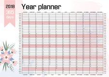 Planejador 2018 da parede do ano Imagens de Stock Royalty Free
