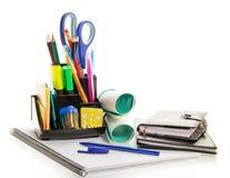 Planejador diário, livro de exercício, material de escritório fotografia de stock royalty free