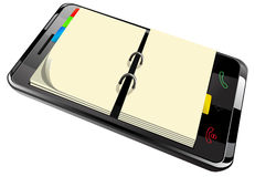 Planejador diário no telefone esperto Fotografia de Stock