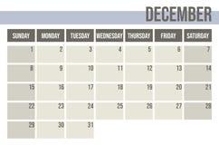 Planejador 2019 do calendário Planejador mensal dezembro ilustração do vetor