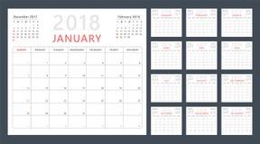 Planejador do calendário para 2018 começos domingo, projeto do calendário do vetor 2018 anos Imagem de Stock Royalty Free