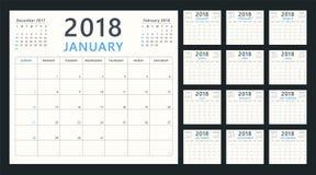 Planejador do calendário para 2018 começos domingo, projeto do calendário do vetor 2018 anos Fotos de Stock