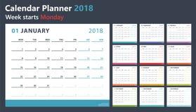 Planejador do calendário para 2018 começos segunda-feira, projeto do calendário do vetor 2018 anos Imagens de Stock Royalty Free