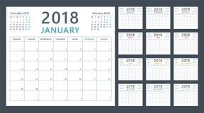 Planejador do calendário para 2018 começos segunda-feira, projeto do calendário do vetor 2018 anos Fotografia de Stock Royalty Free