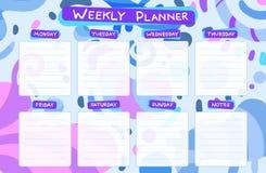 Planejador do calend?rio semanal Tarefas planejando ilustração royalty free