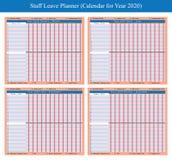 Planejador 2020 do feriado do pessoal ilustração royalty free
