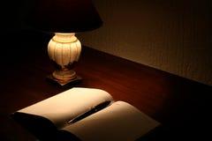 Planejador e lâmpada na tabela Imagens de Stock