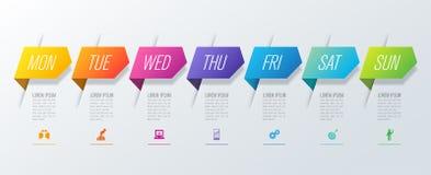 Planejador semanal segunda-feira - de projeto de domingo Infographics ícones do vetor e do negócio com 7 opções ilustração do vetor